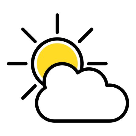 Simple icon of sun and cloud, flat vector illustration for weather web icon Çizim