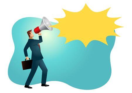 Business vector illustration of a businessman using a megaphone Çizim
