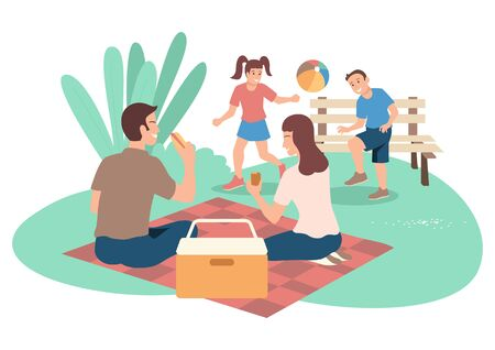 Simple flat vector illustration of happy family on picnic