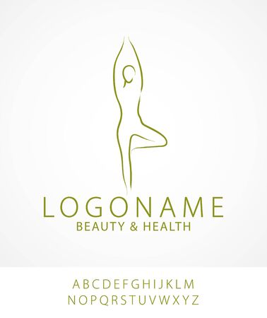 Simple flat graphic vector illustration of female figure doing yoga