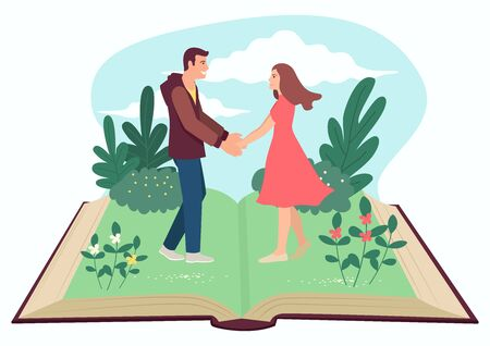 Simple flat vector illustration of man and woman holding hands on open book