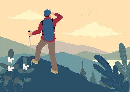 Simple flat vector illustration of man on top of the mountain