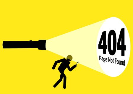 Simple flat vector illustration of stick figure character being guided by flashlight uncovering 404 error page not found sign