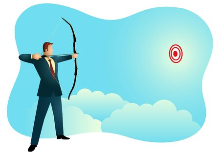 Business concept vector illustration of a businessman aiming target with bow Çizim