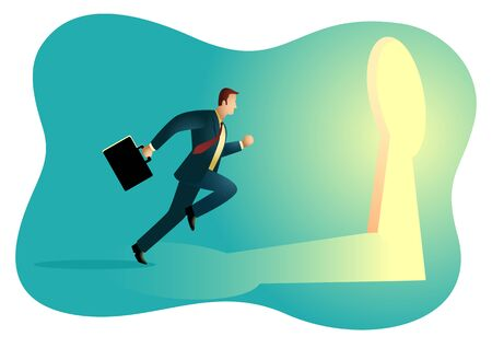 Business concept vector illustration of a businessman running towards a key hole. Business, chance, opportunity, success concept