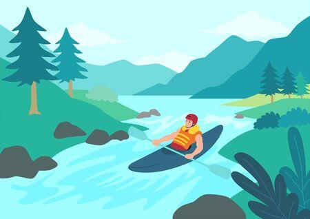 Simple flat vector illustration of man kayaking