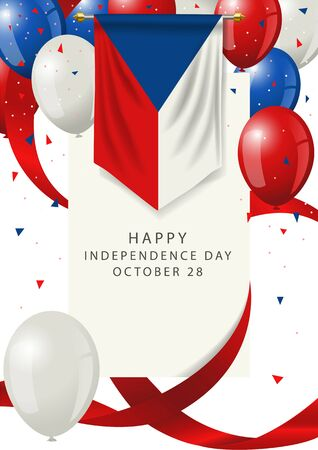 Czech Republic independence day greeting card. Czech Republic holiday on 28th of October, Czech Republic insignia with decorative balloons and ribbons