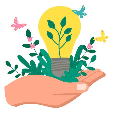 Simple flat vector illustration of hand holding green ecology light bulb and green plant, green energy concept