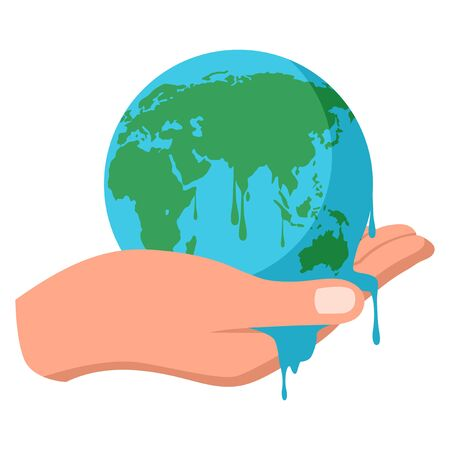 Simple flat vector illustration of hand holding melting earth, global warming, save the earth concept
