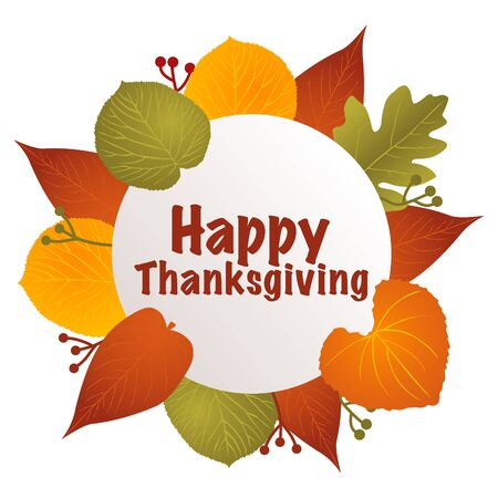 Vector illustration of Happy Thanksgiving text with leaves decoration