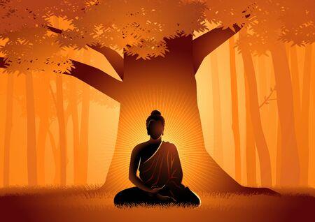 Ilustración vectorial de Siddhartha Gautama iluminado bajo el árbol Bodhi, iluminación del Buda bajo el árbol Bodhi