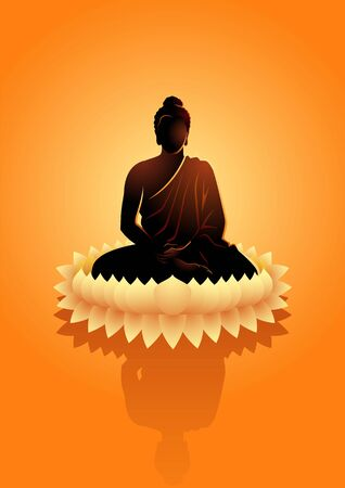 Vector illustration of Buddha meditating on water lotus flower