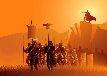 L'illustrazione vettoriale dei legionari dell'antica Roma marciano nel campo di erba, con il loro capo in piedi sulla cima della roccia
