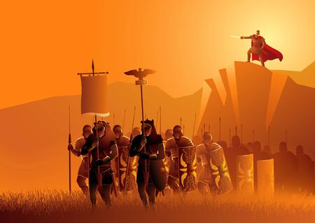 Vector illustration of ancient Rome legionaries march in the grass field, with their leader standing on top of the rock