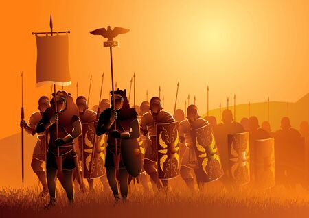 Vector illustration of ancient Rome legionary march in the grass field Illustration