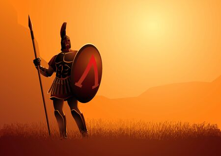 Vector illustration of ancient warrior with his shield and spear standing gallantly on grass field Illustration
