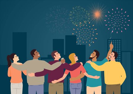 Simple vector illustration of group of friends watching fireworks
