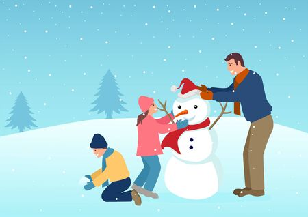 Simple vector illustration of a father playing with his children on winter time