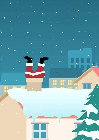 Funny Christmas cartoon of Santa Claus stuck on chimney