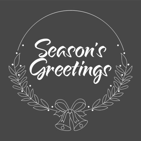 Handwritten text Season's Greetings for greeting card, flyer, brochure, poster logo with text lettering.