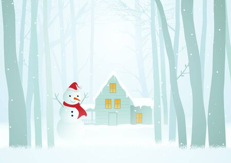Vector illustration for Christmas theme, hut in peaceful woods Çizim