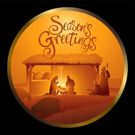 Nativity scene of The Holy Family in stable in circle frame for Christmas theme Ilustracja
