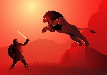 Greek god and goddess vector illustration series, the first of Heracles' twelve labours, Heracles or Hercules fighting the Nemean lion