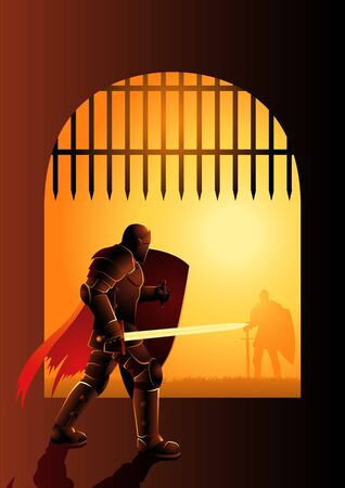 Dramatic vector illustration of a knight waiting by the front gate for a duel Çizim