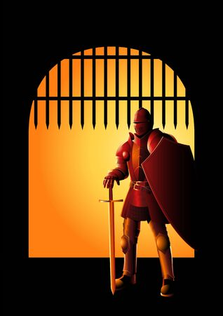 Vector illustration of a medieval knight in armor with sword and shield at the front gate, preparation, protection, precaution concept Illustration