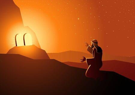 Biblical vector illustration series, Moses received the Ten Commandments