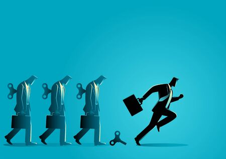 Business concept vector illustration of a businessman running after his winder released. Free will, freedom concept Illustration
