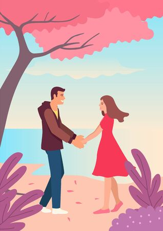 Couple holding hands. Simple vector illustration for Valentine day Ilustrace