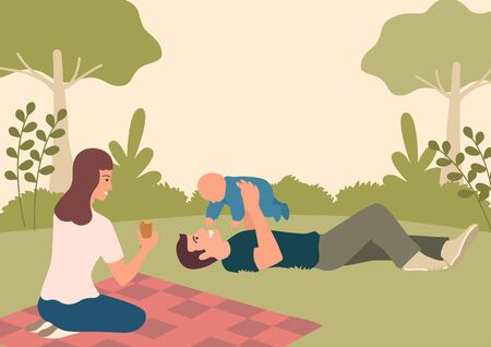 Simple flat vector illustration of happy family playing with their baby in the park