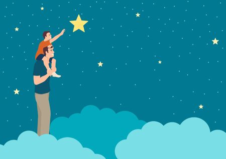 Simple flat vector illustration of a father support his son reaching a star