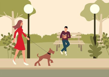 Simple flat vector illustration of a woman and terrier dog walking in the park