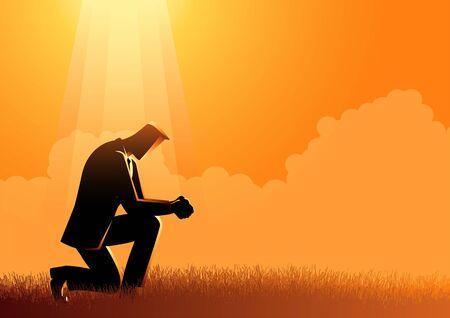 Ilustración de vector de un hombre rezando bajo la luz