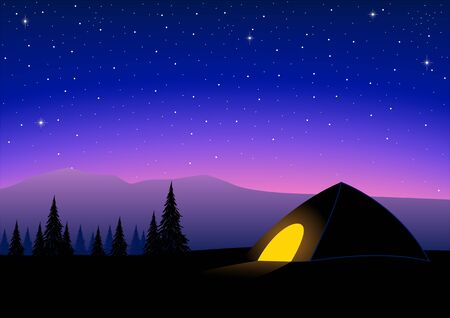 Silhouette of a tent on top of a mountain