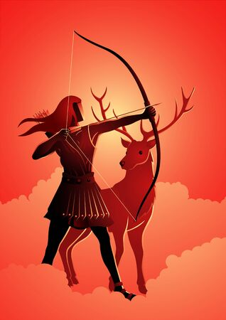 Greek god and goddess vector illustration series, Artemis the patron and protector of young girls