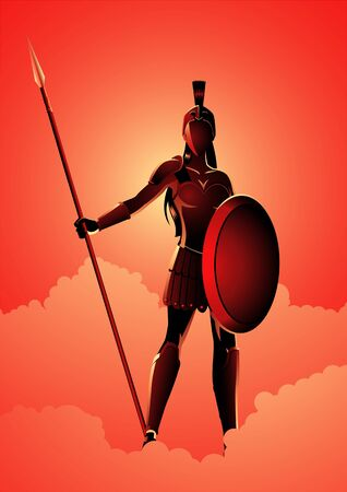 Greek god and goddess vector illustration series, Athena the goddess of wisdom Иллюстрация