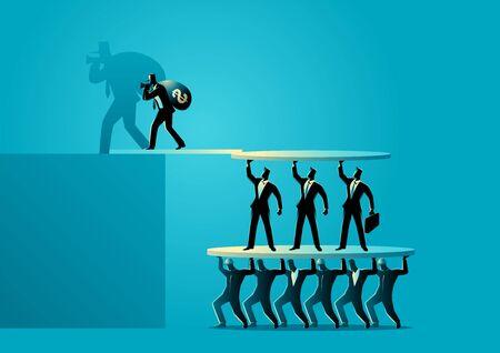 Ponzi scheme vector illustration. Business investment scam concept