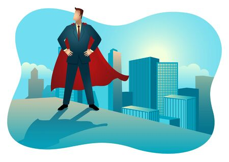 Business concept illustration of  superhero businessman standing on the rooftop of a high building. Concept for success, motivation in business