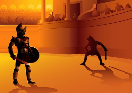 Vector illustration of ancient Rome gladiators in the arena Illustration