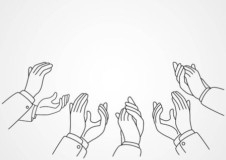 Line art vector illustration of hands clapping