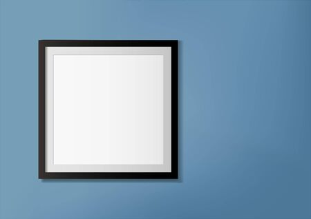 Vector illustration of photo frame on blue wall. Design template for poster or picture mockup
