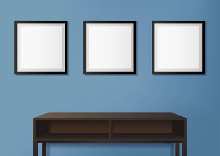 Vector illustration of photo frames on blue wall with empty table as decoration Ilustrace