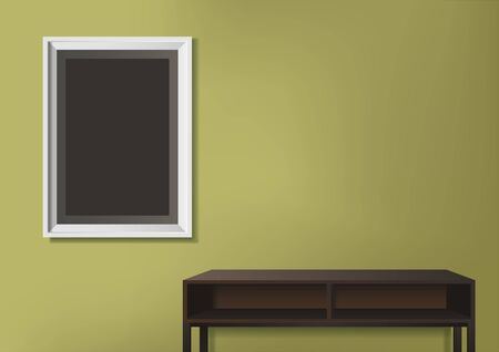 Vector illustration of photo frame on green wall with empty table as decoration Ilustrace