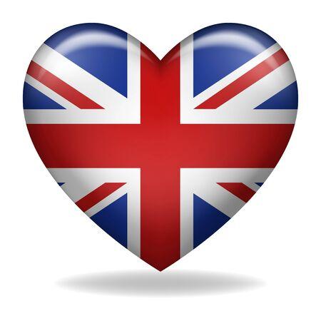 Vector illustration of heart shape of United Kingdom insignia isolated on white