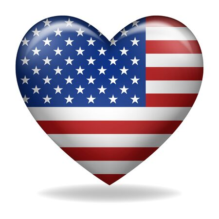 Vector illustration of heart shape of USA insignia isolated on white Vetores