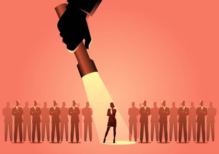 Silhouette illustration of a businesswoman being flash lighted among businessmen. Stand out from the crowd, promotion, candidate, chosen, career, business concept
