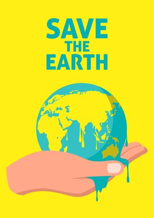 Simple flat vector illustration of hand holding melting earth, global warming, Earth Day, save the earth concept